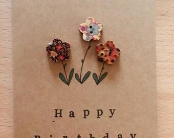 Happy Birthday Flowers - Card