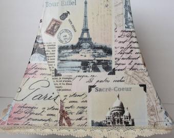 Custom Lamp Shade Fabric Collage Large Paris Vintage Style
