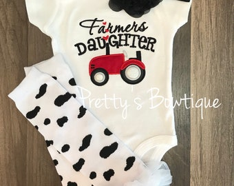 Farmer's Daughter bodysuit or t shirt, headband, and legwarmers.  Can customize wording and colors -- little girls farm outfit -- blue