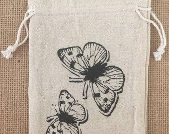 "Butterfly Print - Drawstring Cotton Bag - Perfect for gifts and favors 4.25"" x 6"""