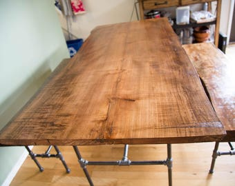 Live Edge Maple Wood Slab Dining Set with Table and Benches