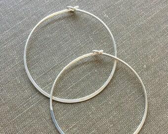 Sterling Hoop Earring - Sterling Silver Hoop - Simple Silver Hoop Earring - Hammered Hoop - One Pair (Two Pieces)