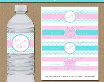 Pink And Aqua Baby Shower Water Bottle Label Template   Printable Girl Baby  Shower Water Labels