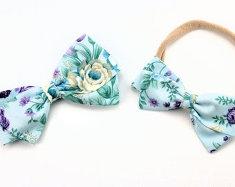 Baby Bow Floral - Baby Girl Hair Bows - Nylon Headbands and Hair Clips for Girls