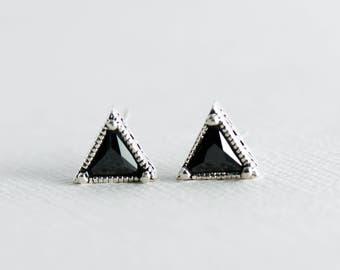 Trillion Triangle Studs, Triangle Earrings, 925 Sterling Silver, Art Deco Earrings, Triangle Studs, Trillion Earrings