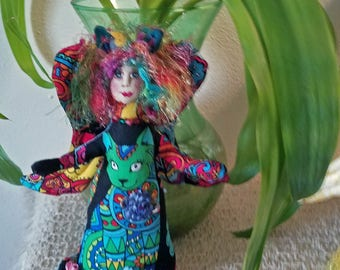 Funky, whimsical fiber sculpted CAT ANGEL, silk face