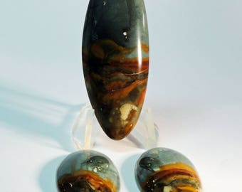 Owyhee Picture Jasper Cabochons set of three