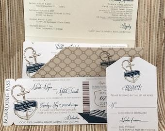 Cruise Wedding Invitation. Boarding Pass Wedding Invitation.  Nautical Wedding Invitation
