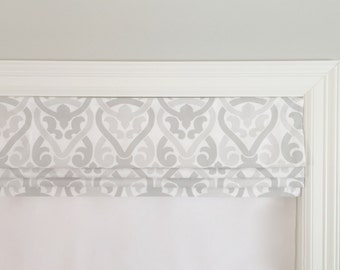 Faux (fake) flat roman shade valance. Your choice of fabric (up to 10 dollars/yard) included! Custom Sizing. Premier Prints Alex French Grey