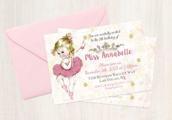 Vintage Ballet Customizable Birthday Invitations, Customize, Girl Birthday Invitations, Ballet Birthday, Printable Invitations, Ballet 043
