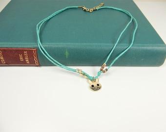 Rabbit Choker, Turquoise Necklace, Bunny Rabbit Charm, Animal Choker