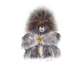 Animal Wall Art, Porcupine Watercolor Art, Baby Porcupine, Home Decor, Wildlife Print, Animal Portrait, Baby Animal Portrait