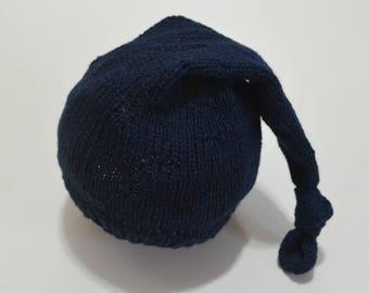 Newborn sleep hat - knit sleep hat - long tail hat - newborn knit hat - READY TO SHIP