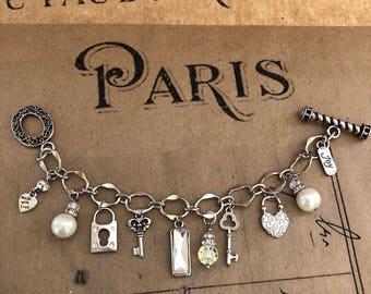 Handmade Artisan Chunky Charm Bracelet Heart Keys Rhinestones!