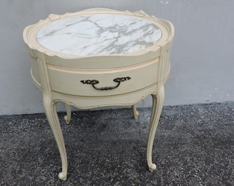 French Painted Marble Top Side Table Nightstand 6347