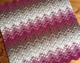 READY TO SHIP- Crochet Baby blanket, baby blanket, pram blanket, crochet blanket, striped blanket, pink blanket, chevron blanket