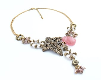 Victorian Necklace, Butterfly Flower Necklace, Wedding Bridal necklace, Lariat Statement Necklace, Romantic Necklace, Antique, Gift For Her