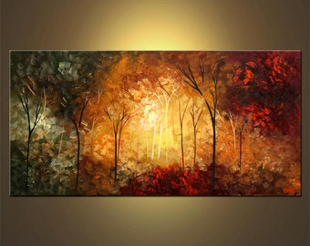 Modern Palette Knife Painting Abstract Landscape Blooming Trees Painting Original Acrylic on Canvas by Osnat - MADE-TO-ORDER