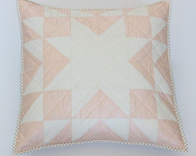 Peach Farmhouse Star Patchwork Throw Pillow