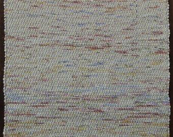 "Hand Woven Rag Rug - Pale Yellow Cotton 26"" x 48"""