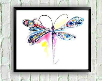 Watercolor Dragonfly Print, Dragonfly Art, Dragonfly Wall Art, Dragonfly Gift, Dragonfly Painting, Dragonfly Decor