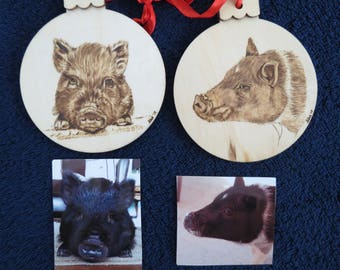 Pet Portrait Wood Burn Ornament Burned by Hand Made to Order using provided photo Potbellied Pig by Shannon Ivins