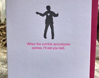 Zombie Apocalypse Letterpress Valentine