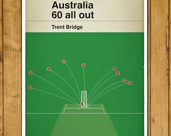 Cricket Print - Classic Book Cover Poster - Australia 60 all out - Sixty All Out - Pomicide - England v Australia 2015 (Various Sizes)