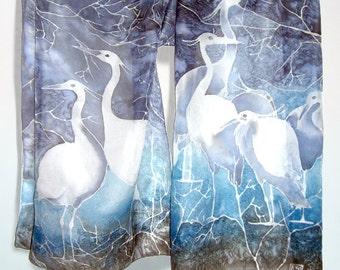 Silk scarf HERON - scarf hand painted silk scarves -  birds scarf - white heron scarf - navy blue scarf - grey scarf - cobalt blue - foulard