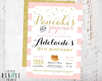Pancakes and pajamas invitation pancakes and pajamas pancakes and pajamas invitation sleepover invitation pancakes and pajamas birthday party invitation gold and filmwisefo Gallery