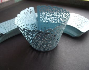 LIGHT BLUE Filigree Lace CUPCAKE Wrappers,Wraps,Liners,Birthday,Wedding,Party,Desert,Damask,Baby Boy Shower,Liners Cups,Baking Supplies