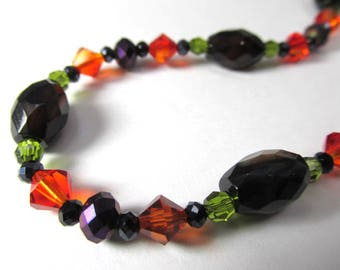 Black Agate and Onyx Stone Beads with Swarovski Orange and Green Crystals and Purple Crystal Rondelles Adjustable Necklace
