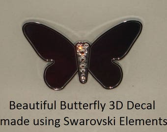 Butterfly Chrome Emblem Decal Luxury Car sticker w Genuine Swarovski Crystals Elements hand jeweled in USA for your Car Truck SUV Motorcycle