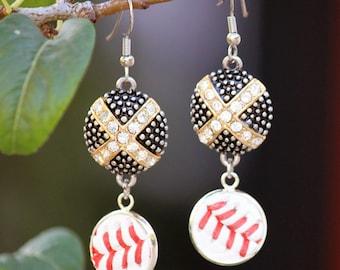 Crystal Baseball Seam Earrings - dangle drop - black + gold + silver + crystal real baseball mom bling jewelry - rhinestone leather enamel