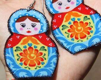 Blue and red Matryoshka earrings - Russian nesting doll jewelry - retro earrings