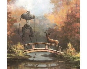 "8"" by 10"" print, ""Bot with Deer"" Altered Thrift Store Art"