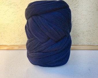 Blue Merino Yarn - Unspun Yarn -Unspun Wool - Chunky Yarn - Unspun Merino - Super Bulky Yarn - Chunky Wool - Merino Wool Yarn
