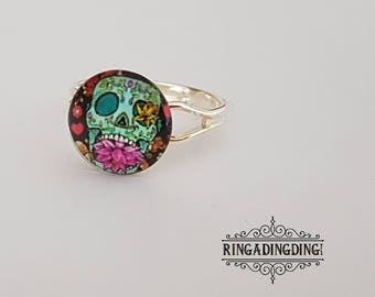 Striking Sugar Skull Ring