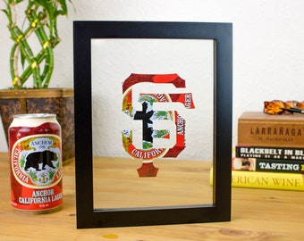 San Francisco Giants MLB Logo Cut From Anchor Steam Beer Can- Handmade SF Giants Collectible for your wall from Anchor Steam Lager Beer!