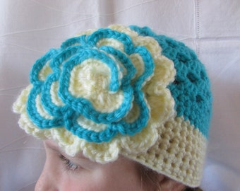 Girls Crocheted Hat - Spring Hat - Blue and Cream Hat with Flower - Granny Square Hat