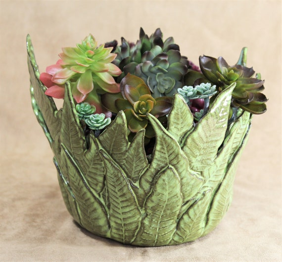 Decorative Fern Bowl - Pottery - Succulent Planter - Mother's Day - Wedding - Anniversary - Table Centerpiece - Candle Holder - Stoneware