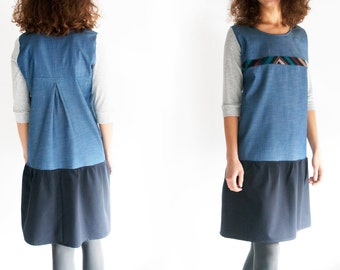 Casual winter dress, Dress 3/4 sleeve, Everyday dress, Denim dress, Casual office dress, Loose tunic dress, Blue dress