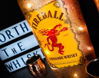Distressed Upcycled FireBall handpainted LED lamp bottle