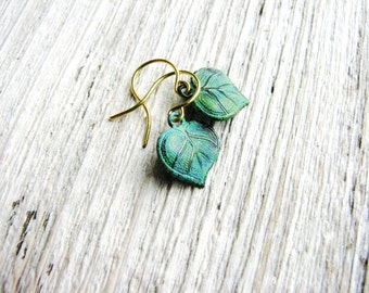 Small Leaf Earrings Green Leaves Tiny Dangles Verdigris Patina Nature Inspired Botanical Bridal Wedding Jewelry Minimalist Jewelry