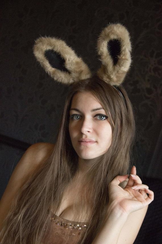 Kaninchen Haar Hase Fell Ohren handgefertigt-Halloween-Medium