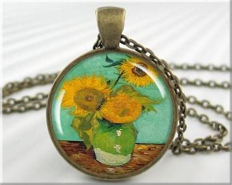 Van Gogh Sunflower Pendant Vincent Van Gogh Art Charm Three Sunflowers Resin Vintage Art Pendant Round Bronze Art Lover Gift (122RB)