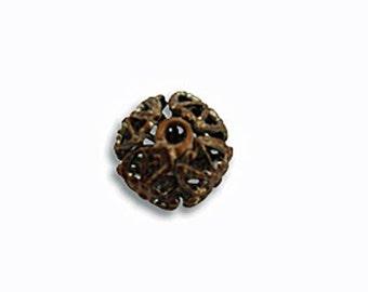 6 pcs Vintaj Natural Brass  7mm Round Filigree Bead Wrap- Natural Brass Lightweight Beads Jewelry Findings Craft Supplies Tools