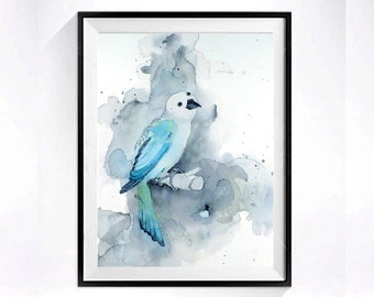 Nature art, Teal Bird Watercolor Painting, Print, Woodland animal, Child's Nursery, wall decor, Archival wall art, Blue, Grey, Aqua Birds