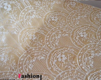 embroidery fabric,off white lace fabric ,wedding lace ,grass and leaves embroidery lace