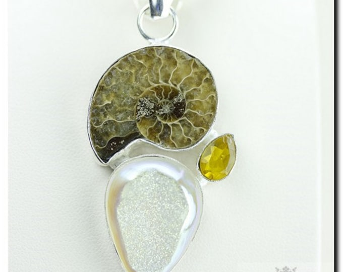 Made in Canada! Ammonite Fossil Moonshine Drusy 925 SOLID Sterling Silver Pendant + 4mm Snake Chain & FREE Worldwide Shipping p1854